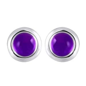 Women's Stainless Steel Amethyst Earrings