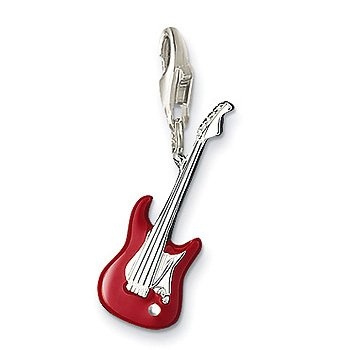 Best Electric Guitar Charm With Red Enamel 2014 New Silver Charms For Women Fashion Charm Pendant Silver Necklace Vintage Jewelry