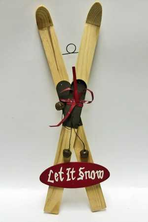 "Wood ""Let It Snow"" Vintage Look Snow Ski – Christmas, Winter, Holiday Decoration"