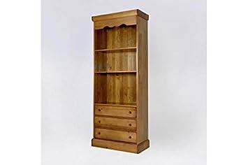 ABC MEUBLES - Bibliothèque bois large 3 tiroirs - 11.303 - Miel