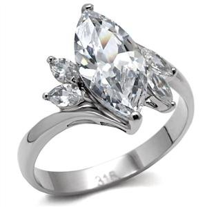 Women's 3 Ct Stainless Steel Classic Engagement Ring with Clear Marquise Cut Cubic Zirconia, Size 7