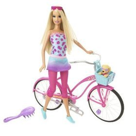Barbie Doll Beach Party with Bike and Bouncing Puppy