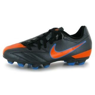 Nike Total 90 Shoot IV FG Childrens Football Boots Black/Orange 2 UK UK
