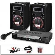 """AUNA DJ set """"DJ-10"""" impianto audio completo (2 casse AUNA diffusori 1000 Watt totali, 1 amplificatore AUNA finale di potenza, 1 microfono, cavi per collegamento)"""