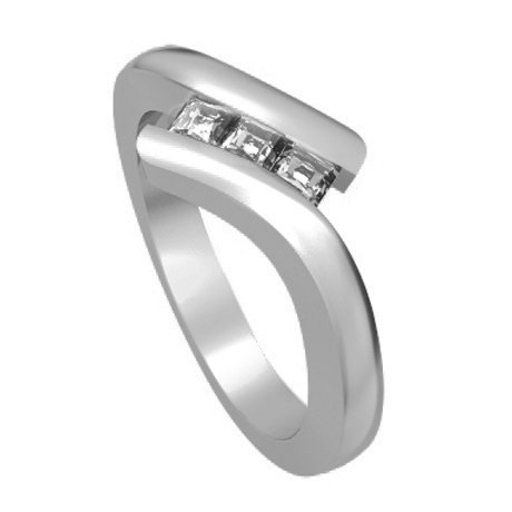 0.60 carat 3 Diamond Trilogy Promise Ring for Women. H/SI1 Princess Cut Diamond in 18ct White Gold