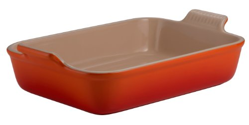 Le Creuset Heritage Stoneware 12-By-9-Inch Rectangular Dish, Flame
