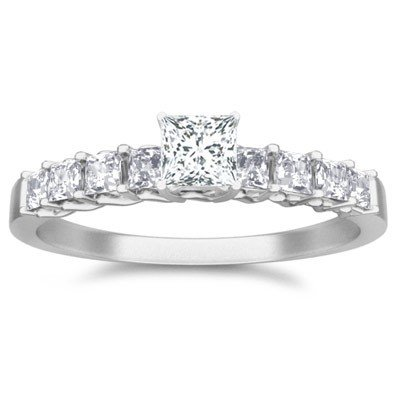 0.60 Carat Diamond Engagement Ring with Princess cut Diamond on 14K White gold