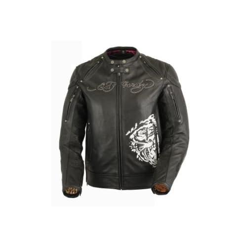 Ed Hardy Life Black Leather Motorcycle Jacket