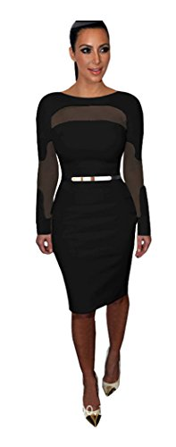 Apparelover Womens Skinny Dress Black