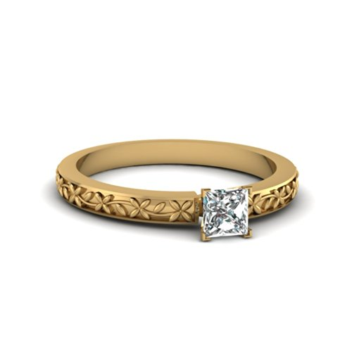Fascinating Diamonds 0.55 Ct Princess Cut Diamond Floral Chain Solitaire Engagement Ring Si1 14K Gia