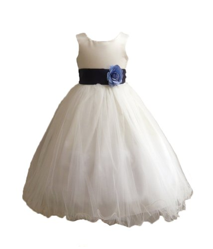 Classykidzshop Ivory Sleeveless Poly Satin Tea-Length Special Occasion Dress - 2T Ivory/Navy Blue