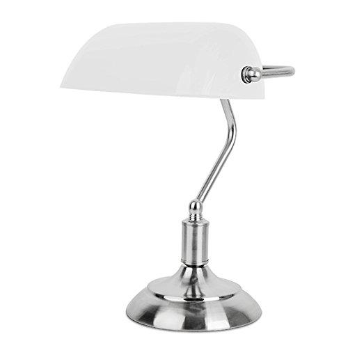 MiniSun - Lampada da tavolo tradizionale con una finitura cromata e paralume di colore bianco nello stile banchiere con funzione touch