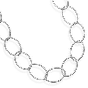 Large Oval Link Twisted Necklace Antiqued Sterling Silver