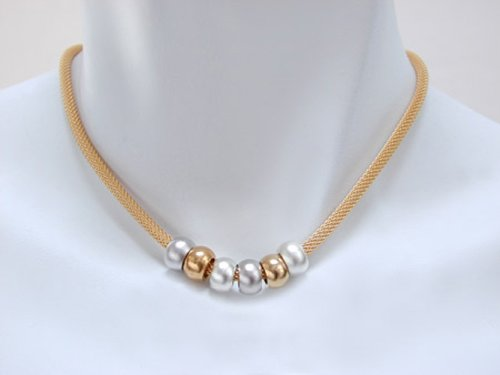 Multi Bead Necklace with Gold Mesh Strand and Silver, Rhodium, and Gold Beads with Toggle Clasp