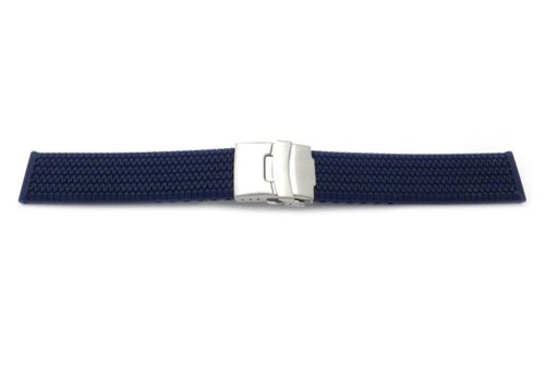 20Mm Dark Blue Tire-Tread Rubber/Silicone With Silver Tone Deployment Buckle