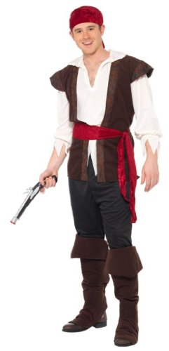 Smiffy'S Pirate Costume, Brown/Black/Red/White, X-Large