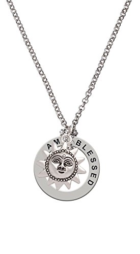 Small Sun Face With Beaded Edging - I Am Blessed Affirmation Necklace