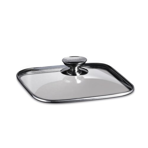 Berndes 606628 11 in. x 11 in. - Quadro Glass Lid with Stainless Knob