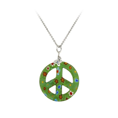 Sterling Silver Rolo Chain with Hand -Blown Green Glass Peace-Sign Pendant Necklace , 18