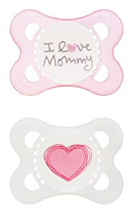MAM Love and Affection I Love Mommy Silicone Pacifier, 0-6 Months, 2 Count