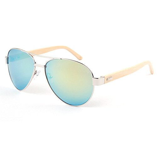 HelloKiti Unisex Fashion Popular Aviator Bamboo Sunglasses(C4)