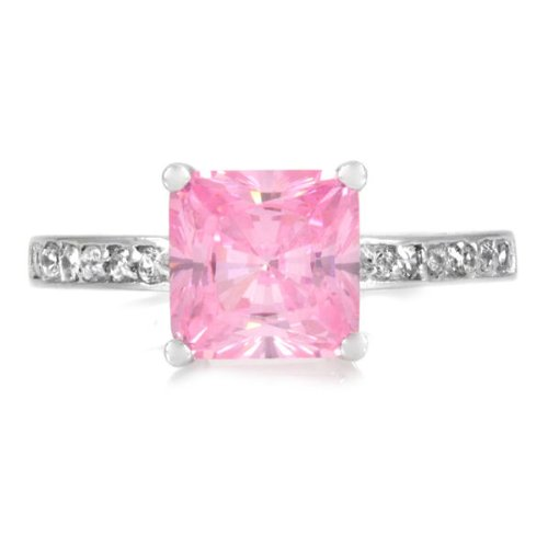 2.5ct Pink Princess Cut Promise Ring - Sterling Silver White Gold Ring (9)
