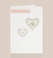 Hanging Hearts Wedding Day Card