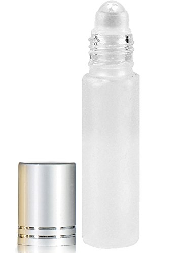 Essential Oils Roller Bottles with Recipe eBook Frosted White Glass Roll On Bottles for Perfume,Wax,Lip Balm,Essential Oils,Deodorant,10ml,24-Pack (24, Frosted White)