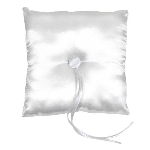 Koyal Wholesale Satin Ring Bearer Pillow, 7-Inch, White front-994668