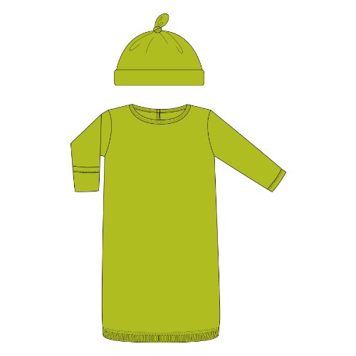 Kickee Pants Newborn Layette Gown & Hat Outfit Set-Neutral Baby-Meadow Green, 3-6 Months front-456073