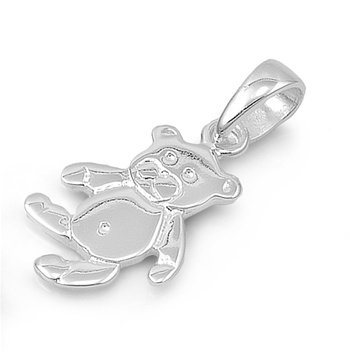 Shiny Polish Sterling Silver Teddy Bear Pendant