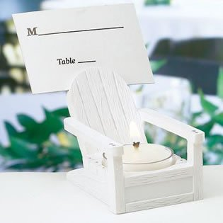 Beach Themed Wedding Place Card Holders & Candles - Adirondack Chairs with Candles, 18
