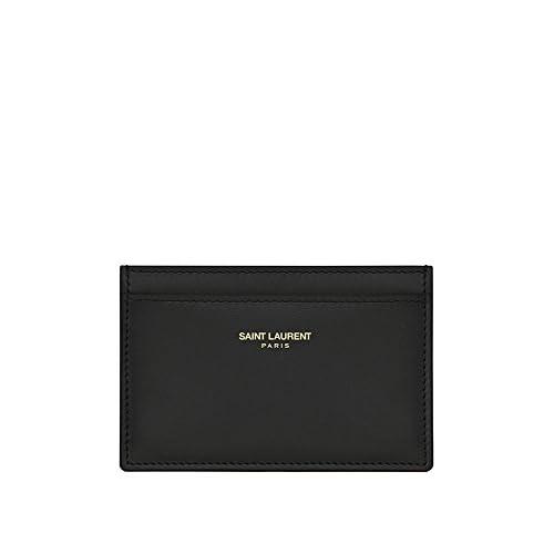 (サンローランパリ) Saint Laurent Classic Saint Laurent Paris Credit Card Case in Red Leather (並行輸入品) LASTERR (Black)