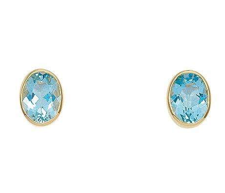 Damen Schmuck 1 Paar Gold Ohrringe / Ohrstecker mit Aquamarin aus 14 Karat (585) Gelb Gold ( 6,8 x 9,2 mm ) jetzt bestellen