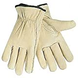 12 Pair Medium Leather Work Gloves. Durable Cowhide Leather. Ideal Hand Protection for Construction & Industrial Use. SM to 3X Sizes. (Medium) (Tamaño: Medium)