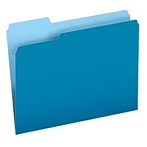 Pendaflex Two-Tone Color File Folders, Letter Size, 1/3 Cut, Blue, 100 per Box (152 1/3 BLU)