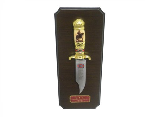 """Csa Confederate Rebel Bowie Knife 10"""" W/Plaque"""
