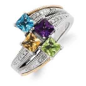 Genuine IceCarats Designer Jewelry Gift Sterling Silver & 14K Four-Stone And Diamond Mother's Semi-Mount Ring Size 6.00