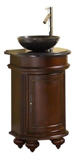 Kaco international 5300-2400-1025VesselAB Arlington 24-Inch Round Ebony Vanity with Black Granite Top and Vessel Sink
