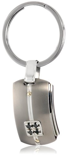 Edward Mirell Men's Grey Titanium Key Ring with Round Black Diamonds, 18k Yellow and Sterling Silver Accents, Size 11.5