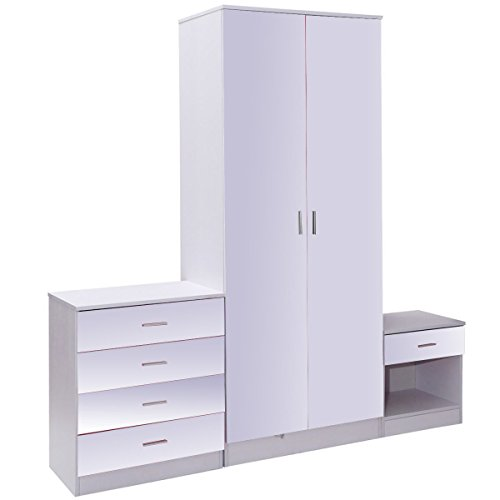 Cheapest Prices! Giantex 3 Piece High Gloss Trio Bedroom Furniture Set 2 Door Wardrobe + Chest + Bed...
