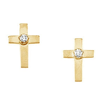 14K Yellow Gold Diamond Stud Cross Earrings - 10 x 06mm