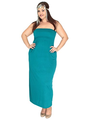 Simplicity Plus Size Stretch Empire Waist Maxi Dress, Made In Usa, Emerald, 3X front-846109