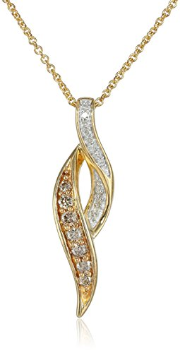 18k+Gold+Plated+Sterling+Silver+Champagne+White+Diamond+Twist+Pendant+Necklace++1-4+cttw++18+