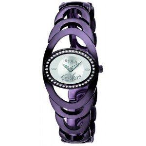 Breil Ladies Saturn Quartz Watch TW0416 with Silver Dial, Purple-Bronze Colour Ip Case and Bracelet