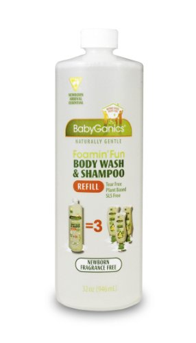 BabyGanics Foamin' Fun Foaming Body Wash & Shampoo, Gentle Newborn Formula, Fragrance Free, Refill, 33.8-Fluid Oz Bottle