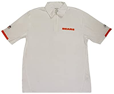 Chicago Bears Reebok White 1/4 Zip Performance Polo