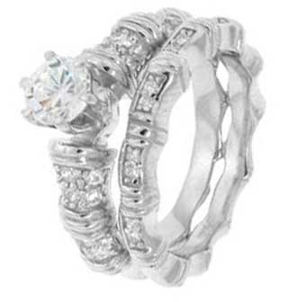 Sterling Silver Wedding Ring Set With Round Shape Cubic Zirconia in 6 Prong Setting