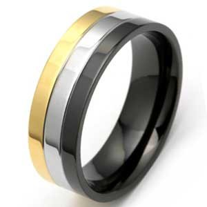8MM Polished Stainless Steel Ring With Black and Gold Plated Edges