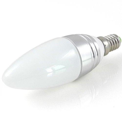 MENGS® E14 3W LED Blunt Tip Kerze Licht Birne SMD LEDs LED lampe Leuchtmittel mit Aluminium-Gehäuse & Glas-Abdeckung (Kaltweiß 5500-6500K, 240lm, Ø36 x 116mm, 200 Grad, 85V - 265V AC, Silber) Energiespar Lampe